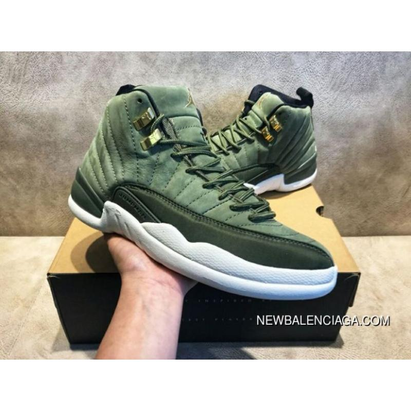 on sale c2fa3 e360e WY Air Jordan 12 CClass Of 2003 Paul C Olive Green Gold Buckle Suede Size  130690-301 For Sale
