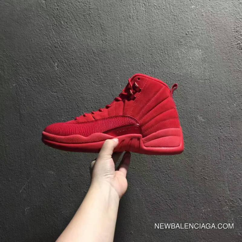 buy online be39e 1d03e Men Basketball Shoes Air Jordan 12 Red Suede New Release ...