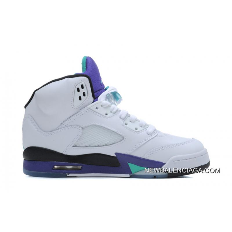 468a4c570594b9 New Air Jordan 5 Retro White New Emerald-Grape-Ice Blue Outlet ...