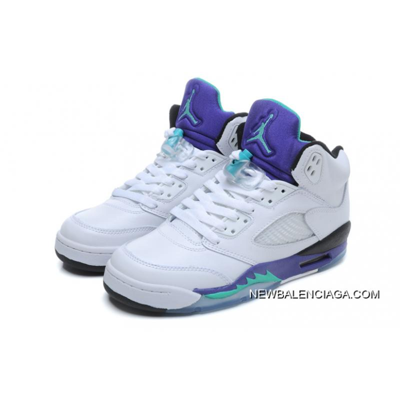 low priced ea7c9 2f768 ... New Air Jordan 5 Retro White New Emerald-Grape-Ice Blue Outlet ...