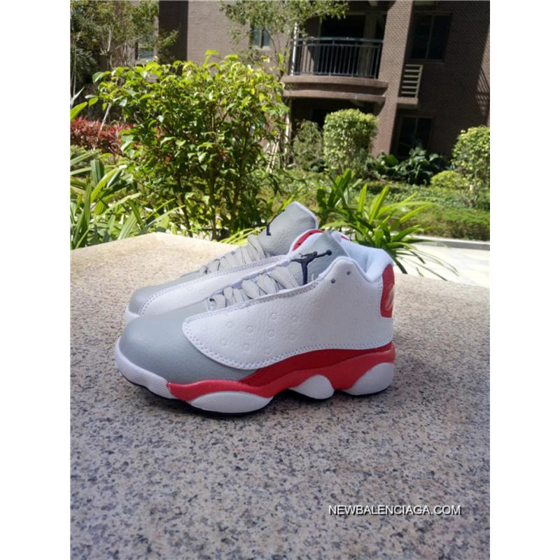 7613bf3c5a6 Authentic Air Jordan 13 Kids Shoes White Grey Red, Price: $76.34 ...