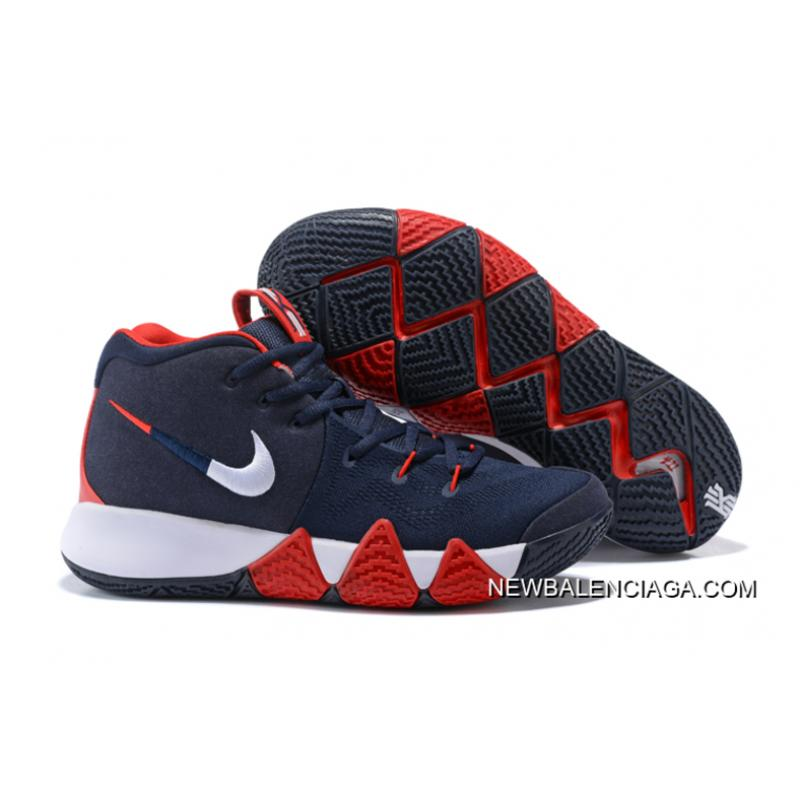 "caf25d7b6c90 Nike Kyrie 4 ""USA"" Navy Blue White-Red Best ..."