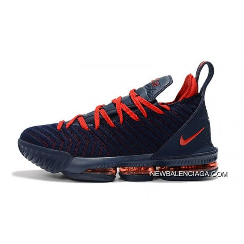 finest selection ab163 5405a Online Nike LeBron 16 Navy Blue University Red Basketball Shoes On Sale ...