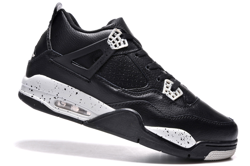 "5dadb241c76b55 New Air Jordan 4 Retro ""Oreo"" Black Leather White Speckle Outlet ..."