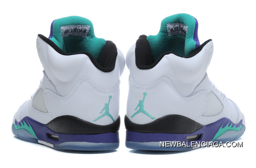 reputable site 7bf23 23fd9 New Air Jordan 5 Retro White New Emerald-Grape-Ice Blue Outlet