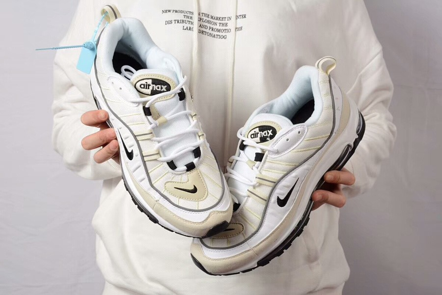 """dcc4a649c9 Nike Air Max 98 """"Fossil"""" White/Black-Fossil-Reflect Silver New Style ..."""