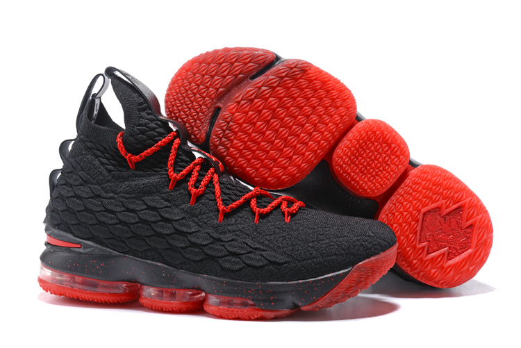 ac95d83fda5 Nike LeBron 15 Black University Red Basketball Sneakers New Release ...