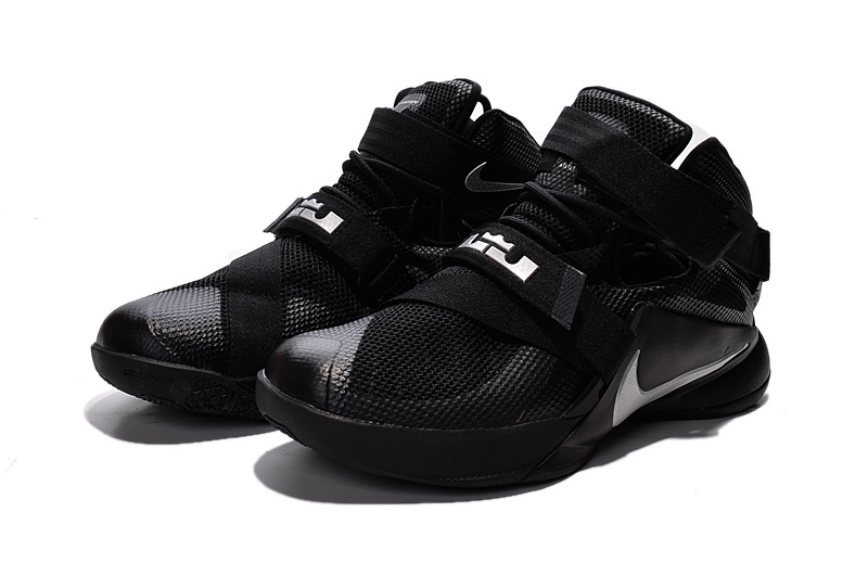 """76eda3648a4 Nike LeBron Soldier 9 """"Blackout"""" All Black Basketball Shoe New Release"""